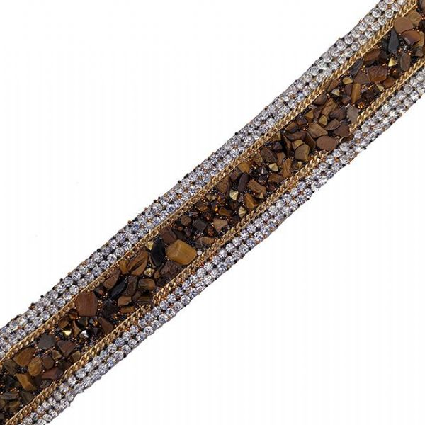1 metre x 24mm brown natural stone, chain and crystals